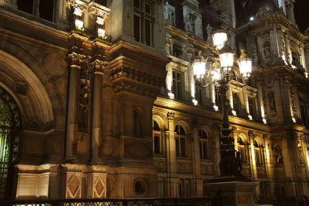 ville: Hotel de Ville in Paris France at night