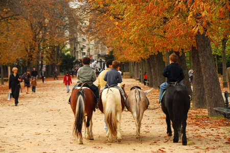 Children riding ponies in Jardins du Luxembourg (Luxembourg gardens) in Paris France photo