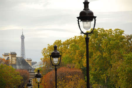 Street in Paris France with lightposts on overcast autumn day