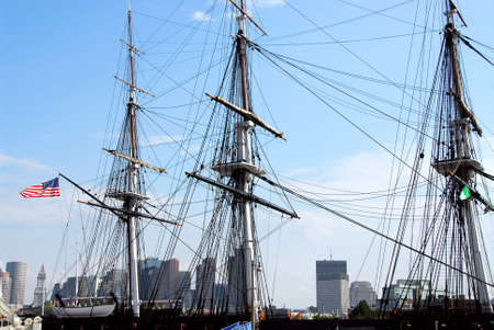 boston skyline: Masts of USS Constitution with Boston skyline in the background