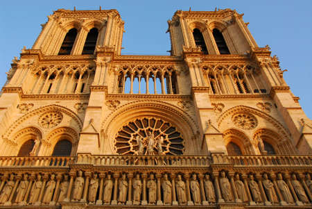 Cathedral of Notre Dame de Paris in evening sun Stock Photo - 609320