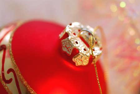 Closeup of red christmas tree ornament glass ball Stock Photo