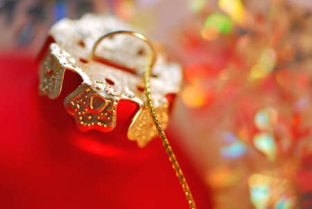 Closeup of red christmas tree ornament glass ball Stock Photo