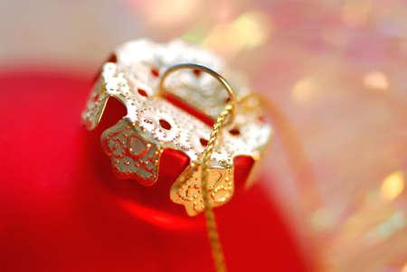 Closeup of red christmas tree glass ball photo