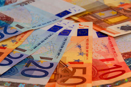 european union currency: Antecedentes de la Uni�n Europea las facturas de papel moneda Foto de archivo