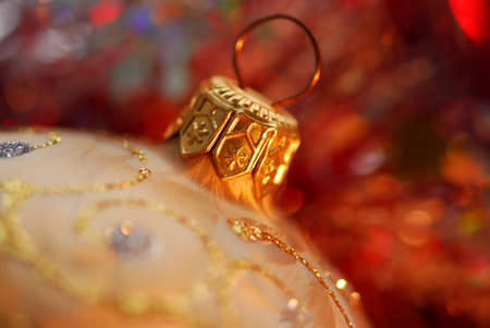 Closeup of golden christmas tree glass ball Stock Photo - 615903