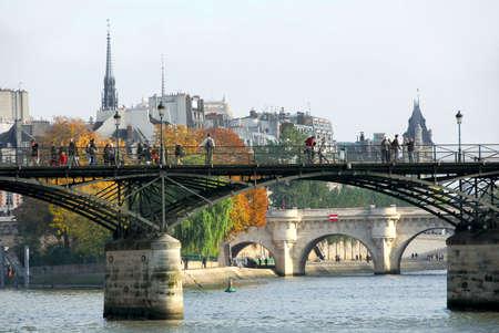 Stone bridges over Seine in Paris France photo