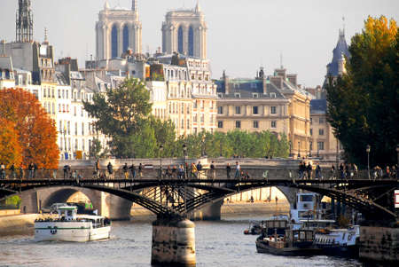 fall scenery: Stone bridges over Seine in Paris France