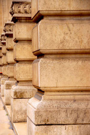 architectural detailing: Row of columns in perspective in old historic building