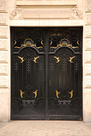 Black iron doors in old building in Paris France photo