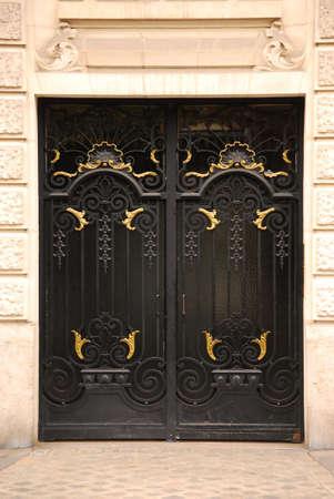 plaster of paris: Black iron doors in old building in Paris France