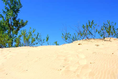 Landscape of sand dunes with clear blue sky photo