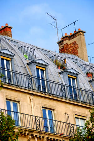 Fragment of a typical building in Paris, France photo