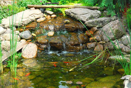 koi fish pond: Natural stone pond as landscaping design element