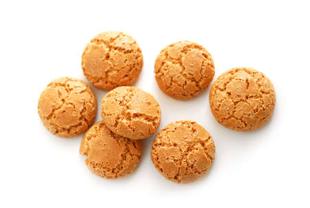 almond biscuit: Traditional italian almond cookies - amaretti, isolated on white background Stock Photo
