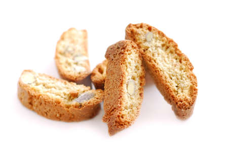 Traditional italian almond biscuits - biscotti, on white background photo