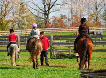 시골에서 조랑말과 말을 타는 아이들