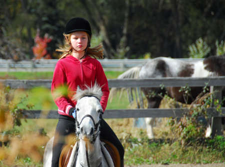 lesson: Young girl riding a white pony at countryside