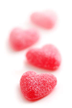 Sugar candy Valentines hearts isolated on white background photo