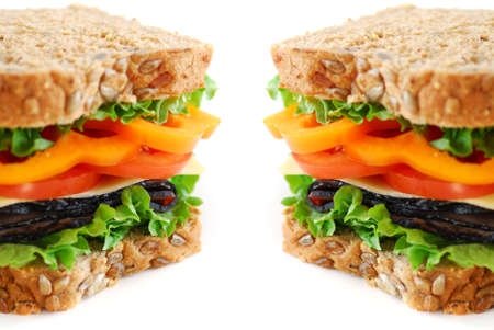 Big healthy sandwich with vegetables and meat close up on white background Stock Photo - 748992