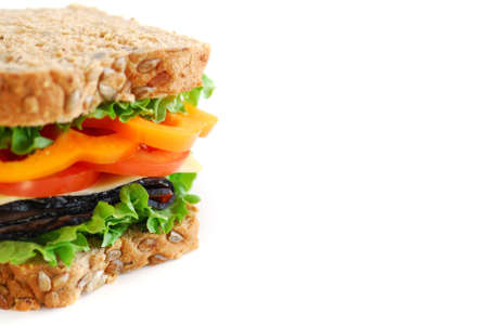 Big healthy sandwich with vegetables and meat close up on white background with copy space Stock Photo - 753896