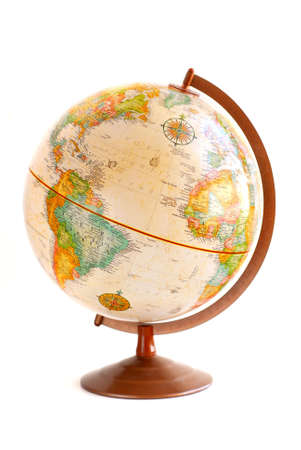 Old fashioned globe isolated on white background Zdjęcie Seryjne