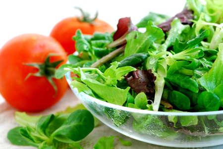 신선한 채소 샐러드와 토마토가 닫습니다.