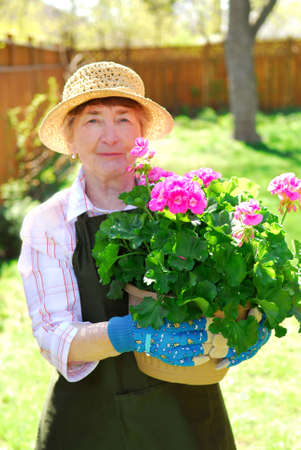 Senior woman holding a pot with flowers in her garden, shallow dof, focus on flowers photo