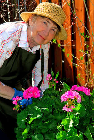 Senior woman working in her garden in the spring Stock Photo - 919068