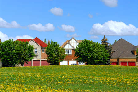 upscale: Residential upscale homes with park view in the spring Stock Photo
