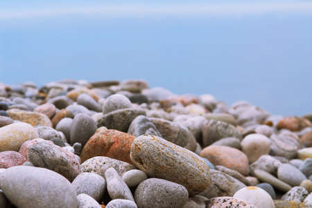 Background of colofrul beach pebbles of different shape and water Stock Photo - 955004