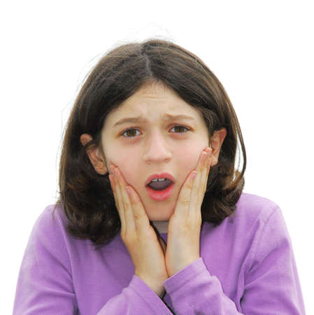 horrify: Portrait of a young girl expressing fear and disgust Stock Photo