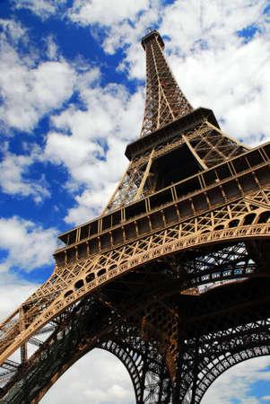 Eiffel tower on blue sky background. Paris, France. Standard-Bild