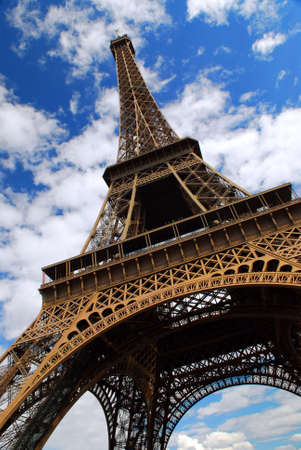 Eiffel tower on background of blue sky in Paris, France. Stock Photo - 1342679