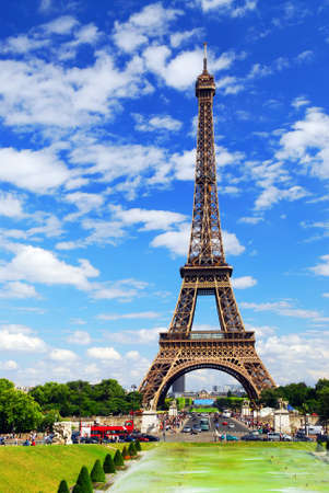 trocadero: Eiffel tower on background of blue sky in Paris, France.