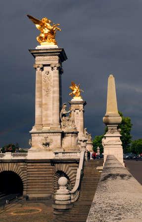 Fragment of Alexader the Third bridge in Paris, France. Stock Photo - 1342676