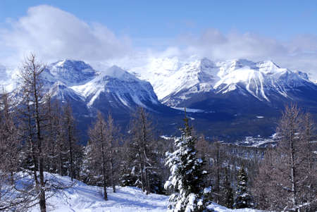Snowy mountain ridges at Lake Louise in Canadian Rocky mountains Stock Photo - 1353527