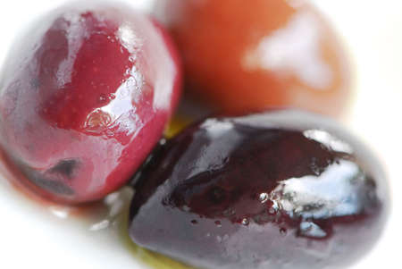 Macro image of greek kalamata olives and olive oil Banco de Imagens