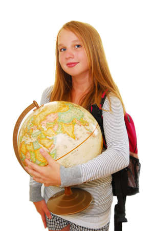 nice girl: Young smiling school girl with backpack and globe isolated on white background Stock Photo