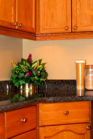 Modern kitchen interior with natural granite countertop and oak cabinets Stock Photo - 1425032