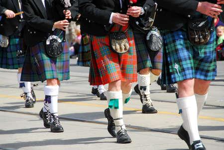 scottish: Scottish marching band at city parade Stock Photo
