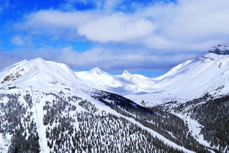 Snowy mountain ridge at Lake Louise ski resort in Canadian Rockies Stock Photo - 1439305