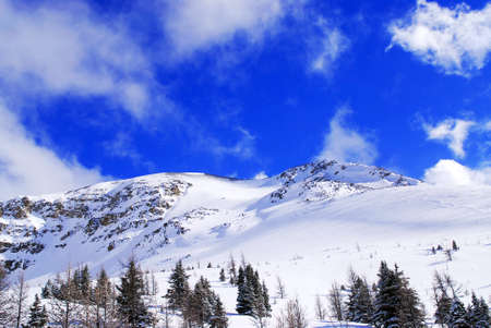 Snow covered mountain tops in Canadian Rockies with bright blue sky and snowflakes photo