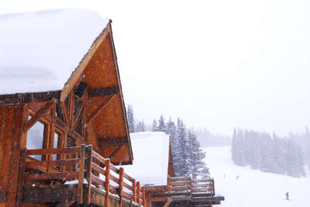 Wooden mountain lodge at downhill ski resort in Canadian Rocky mountains Stock Photo - 1439212