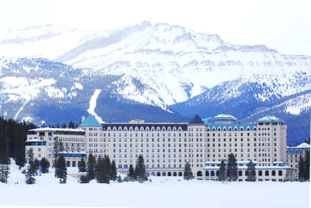 frozen lake: Chateau Lake Louise in Canadian Rocky mountains in winter