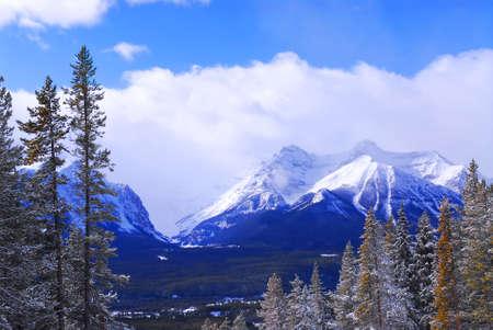 Snowy mountain ridge at Lake Louise ski resort in Canadian Rockies photo