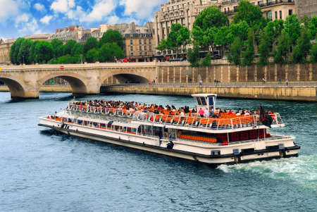 Boat tour on Seine river in Paris, France Stock Photo - 1482607