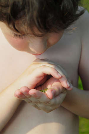 holding close: Young boy holding a tiny frog in his hands Stock Photo