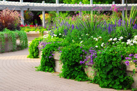 interlock: Formal garden with blooming flowers in the summer Stock Photo
