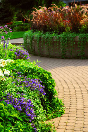 Formal garden with blooming flowers in the summer Imagens